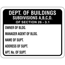 DB-116 Dept of Buildings Subdivisions ABCD