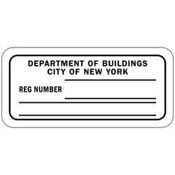 DB-152 Department of Buildings Registration Number (fill-in)